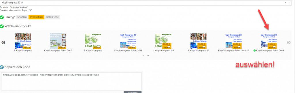 Elopage produkt auswählen